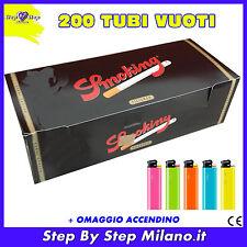 200 tubetti Tubi SMOKING con filtro SIGARETTE VUOTE + OMAGGIO accendino