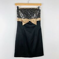 Jessica McClintock Gunne Sax Size 3 Strapless Dress Black Gold Sequin Bow Party