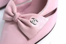 Chanel Pink Bow Pointed Logo Slingback Heels 36 uk 3