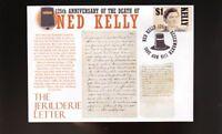 NED KELLY 125th ANNIVERSARY COVER, JERILDERIE LETTER