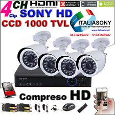 KIT Videosorveglianza DVR 4 H264-5GH + HD + 4 SONY 1000TVL + 4 Aliment.+ Cavi