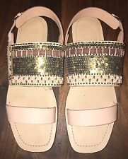 Zara Pink Leather Beaded Sequin Triple Strap Flat Sandals 9 40 M