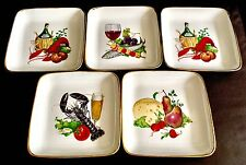 """5 Superb Vintage Heavy 6""""/15cm Square 1"""" Deep French Ironstone Seafood Dishes"""