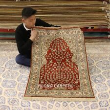 Yilong 2.5'x4' Red Praying Handcraft Rug Small Hand Knotted Silk Carpets 279H