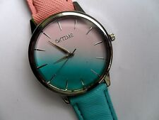 Unusual Pink and Blue Mixed Patterned  Face Quartz Watch Coloured Strap