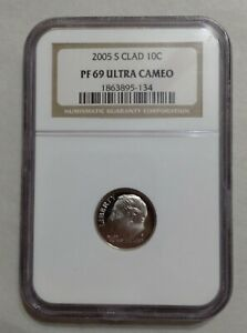 2005-S ROOSEVELT DIME Clad Proof NGC PF-69 Ultra Cameo FREE SHIPPING IN U. S.