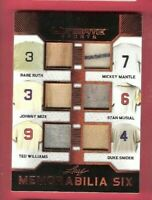 BABE RUTH BAT CARD MICKEY MANTLE TED WILLIAMS STAN MUSIAL JERSEY CARD LEAF #d5/5