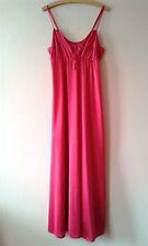70s vintage cerise pink maxi length night dress nightie negligee medium 12 - 14