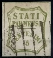 1859 >ITALY>Parma >Arms Inscription STATI PARMENSI>Used extremely rare CV$850.
