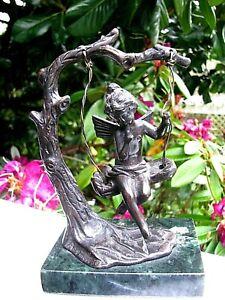 Vintage Auguste Moreau BRONZE Sculpture CHERUB ON TREE SWING:Angel Child Figure