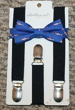 New! Baby Boys Starting Out - Shark! Bow Tie & Suspenders Set (Navy Blue/Pink)