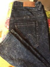 """Nanny State dark indigo frosted slim tapered mid rise button fly jeans 32Wx30""""L"""