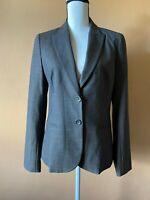 Theory Women's Gray Wool Blend Long Sleeve Lined Blazer Jacket Size 10