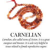 Carnelian Mala Stone Crystal 108 Beads Jap Necklace Reiki Healing Unisex