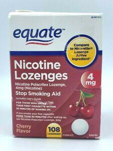 EQUATE, NICOTINE LOZENGES, 4MG, STOP SMOKING AID, 108 LOZENGES, OPEN BOX