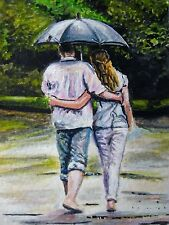 Original Watercolor Painting Couple Walking Park Umbrella Rain Nature ACEO Art