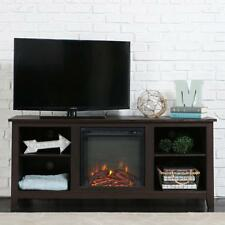 Electric Fireplace TV Stand Espresso Brown Media Center Console Storage Heater