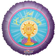"First Communion Foil/Mylar Balloons ( 3 Balloons ) 18"" - Purple"