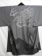 Men's Gray Japanese NAGA-JUBAN w/SHIBORI Dragon E94