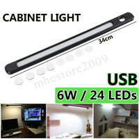 24 LED 5V 6W USB Strip Bar Light 34cm Desk Table Reading Lamp Magnet Stick-on