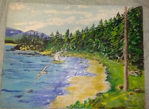 American Folk Art Beach Cove Oil on Board Painting 1960's PA Estate 24x18 signed
