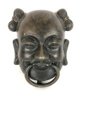 Laughing Buddha Door Knocker Heavy Metal Bronze Patina 4 X 6�
