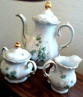 WINTERLING - BAVARIA Green Ming (Gold) TEA/COFFEE POT, Creamer, Sugar Bowl