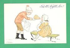 VINTAGE SWEDISH J. UDDEN ART NEW YEAR POSTCARD BOY GIRL BIG COOKIE SLED SNOW
