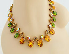 ONYX 17in GOLD GREEN MULTI CRYSTAL NECKLACE EARRINGS GOLD TONE JEWELRY SET NEW