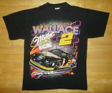 Vintage RUSTY WALLACE Black MILLER RACING 2 Sided Shirt - Adult Large L