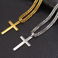 Fashion Jewelry Men Stainless Steel Gold Silver Cross Pendant Necklace Chain
