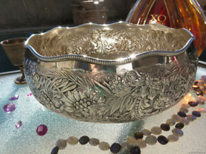 ANTIQUE GORHAM 1890 STERLING SILVER BOWL DISH RARE MARKS OLD HANDMADE REPOUSSE