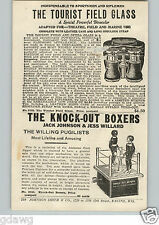 1920's PAPER AD Mechanical Toy Jack Johnson Jess Willard  Knockout Boxers Jigger
