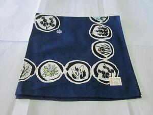 "Japanese Furoshiki Wrapping Scarf Tapestry 19""Cotton Blue Natural DrawingPattern"