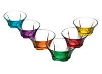 6pc Colour Base Glass Bowls Set Dessert Glassware Ice Cream Sundae Trifle Bowl