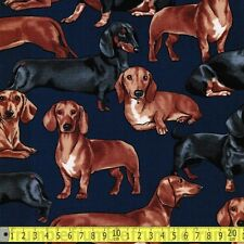Timeless Treasures Fabric Dachshunds Navy PER METRE Sausage Dog Puppy Pooch Pup