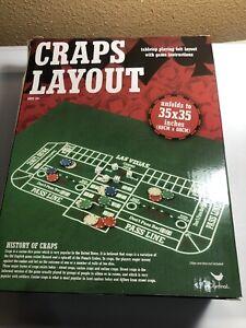 """Cardinal Craps Layout Tabletop Playing Felt 35"""" X 35"""" NEW Dice Game Mat Access."""
