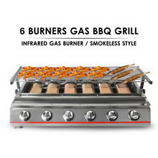 6 Burners Gas BBQ Grill LPG Smokeless Outdoor Camping BBQ Grill Barbecue Cooker