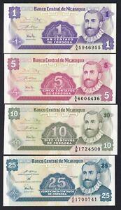 Nicaragua 1-5-10-25 centavos 1991 FDS/UNC (Set 4 Banconote)  B-07