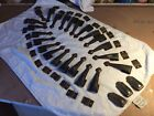 23 VINTAGE ART NOUVE COPPERED CAST IRON STAIR CARPET RUNNER GRIPS bases + extras