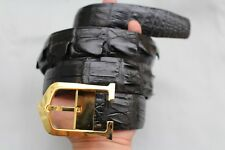 New Casual Men's Belt Genuine Crocodile ,Alligator Skin Leather Black  #TGN008