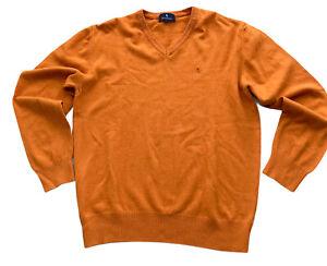 Glengarnock Mens Jumper Sweater Orange L 100% Lambswool V-neck Scottish