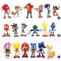 6PCS Sonic The Hedgehog Shadow Knuckles Action Figure Cake Toppers Kids Toy US