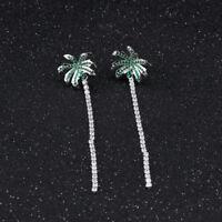 Coconut Tree Tassels Green White CZ Silver Yellow/Black Gold GP Stud Earrings