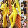 Womens Winter Casual Puffer Zip Jumpsuit Faux Fur Warm Snow Ski Gloves Overalls