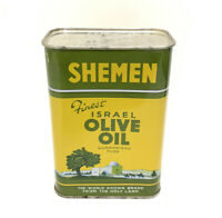 Vintage KOSHER Jewish OLIVE OIL Tin UNOPENED LITHO Tin Can Israel SHEMEN Holy