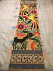 VTG EUC Woven Otami Style w/ Yarn Embroidery Mexico Wall Hanging