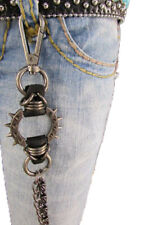 Men Metal Gunmetal Wallet Chains Long Strong Spike Biker Jeans Pewter Big Charm