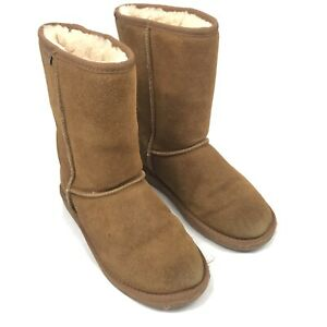 Minnetonka Women's Olympia Short Boot Sheepskin Wool Blend Lining Tan 9 US