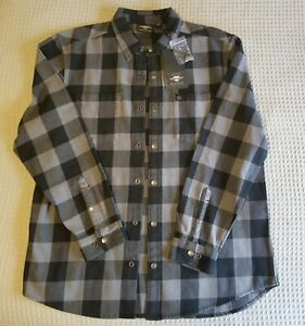 Harley Davidson Motorclothes Heavy Weight Gray and Black Snap Flannel NWT XL